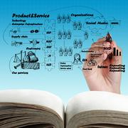 open blank book of business process - stock illustration