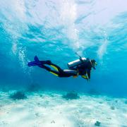 silhouette of scuba diver near sea bottom - stock photo