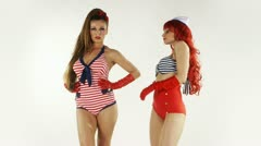 Sailor pinup style dancers Stock Footage