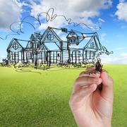 hand draw house against blue sky - stock illustration