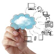 Stock Illustration of businessman drawing a cloud computing diagram