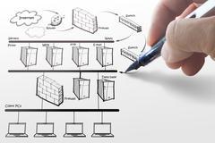 Stock Illustration of businesswoman drawing internet system diagram