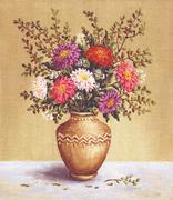 asters in a camphora, painting - stock illustration