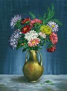 bouquet of asters in a clay vase - stock illustration