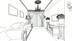 Classic interior creation, wireframe - stock footage