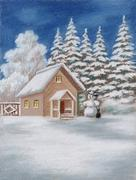 house in forest and snowman - stock illustration