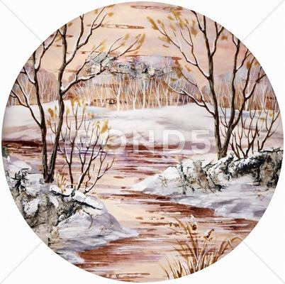 Stock Illustration of winter siberian landscape