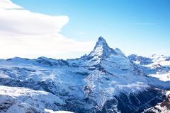matterhorn peak in winter in switzerland - stock photo