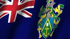 Pitcairn Islands Waving Flag Stock Footage
