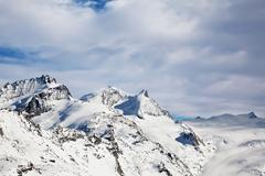 beautiful winter landscape in switzerland in zermatt - stock photo