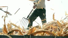 Farmer With A Pitchfork Stock Footage