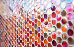 orange and red round mosaic pattern - stock photo