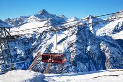 mountain hoist in switzerland - stock photo