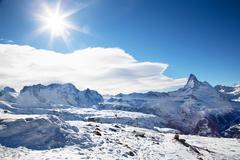 winter landscape in switzerland - stock photo