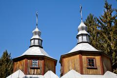 wooden church two domes - stock photo