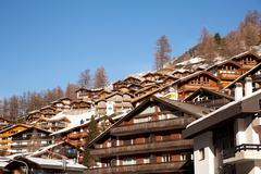 zermatt town in switzerland - stock photo