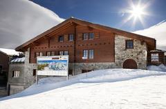 small restaurant in zermatt - stock photo