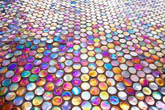 round glass mosaic tile - stock photo