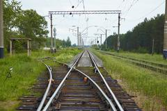 Railway lines with switch Stock Photos