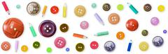Seamless pattern - color old-fashioned buttons Stock Photos