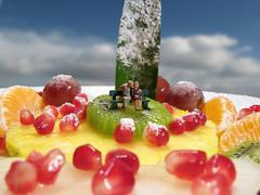Kiss on fruits Stock Photos