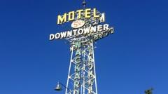 Historic Motel Sign In Flagstaff Arizona Stock Footage