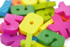 Wooden baby kit for mathematics Stock Photos