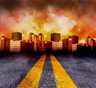 Road Going Into The City With Red Sunset - stock illustration