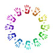 Colored handprints Stock Illustration