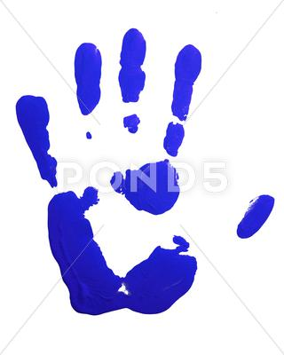 Stock photo of Blue hand-print