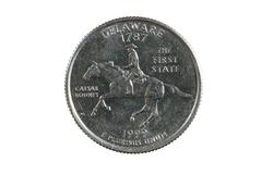 isolated delaware quarter - stock photo