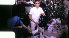 Young Man Filmmaker New Projector Christmas 1960s Vintage Film Home Movie 9899 Stock Footage