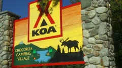 Sign for Chocorua Camping Village in New Hampshire Stock Footage