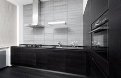 Part of modern minimalism style kitchen interior in monochrome tones Stock Photos
