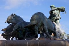 Gefion Fountain in Copenhagen Stock Photos