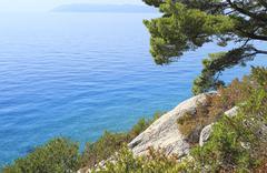View to adriatic sea from makarska beach Stock Photos