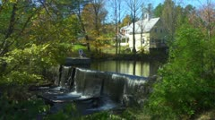 Slow Motion Waterfall and House in New Hampshire - stock footage