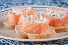 Salmon and cheese appetizers Stock Photos