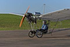 demoiselle replica airplane invented by santos dumont - pilot's preparing for - stock photo