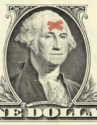 Washington dollar portrait with bandages Stock Photos