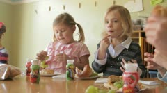 kids snack time 4 - stock footage