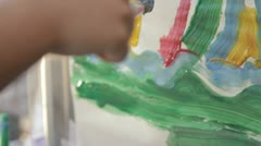 kids painting 2 - stock footage