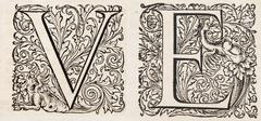 old manuscript letters v and e - stock photo