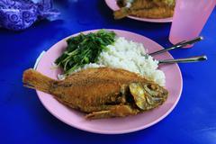 Malaysian fried fish Stock Photos