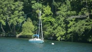 Sailboat on a lake Stock Footage