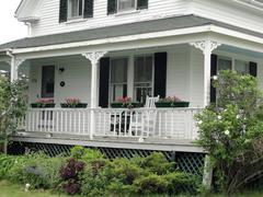 detail, porch of classic white new england house - stock photo