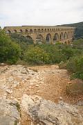 pont du gard roman aqueduct - stock photo