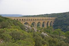 Pont du gard roman aqueduct Stock Photos