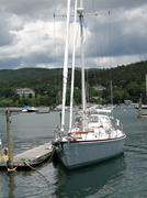 White yacht at anchor Stock Photos
