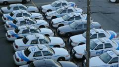 Police cars. Tilt – 2 shots. Stock Footage